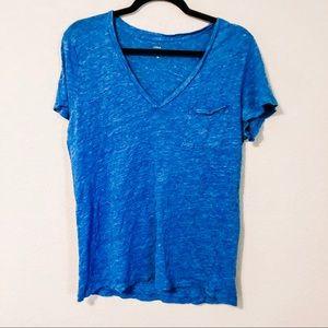 J. CREW Blue Linen V-neck Pocket T-shirt